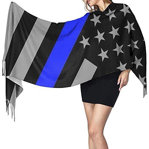 Grijze blauwe strepen USA vlaggen sjaal gedrukt sjaal mode lange sjaal voor kerstcadeau