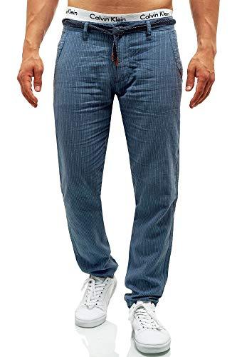 Indicode Arona Stoffhose aus Baumwolle & Leinen mit 4 Taschen | Lange Regular Fit Hose Herrenhose Baumwollhose Leinenhose Kordel-Gürtel Sommerhose Freizeithose für Männer China Blue XXL