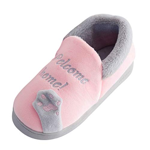AmyGline Hausschuhe Damen Herren Pantoffeln Winter Plüsch Hausschuhe Cartoon Katze Baumwolle Pantoffel Warm Gefüttert Schuhe Hause Boden Drinnen rutschfeste Slippers Flache Schuhe Schlappen