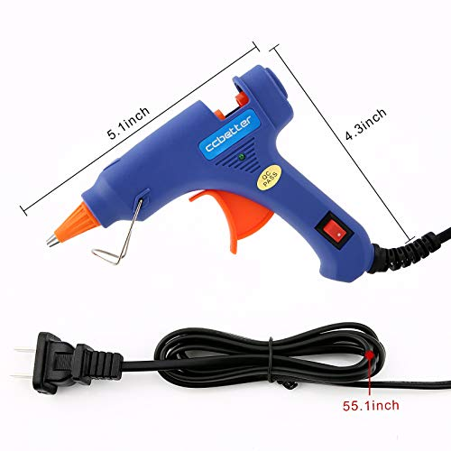 Hot Glue Gun,ccbetter upgraded version Mini Hot Melt Glue Gun with 30pcs Glue Sticks with glue gun removable Anti-hot cover for DIY Small Craft Projects and Home Quick Repairs Blue