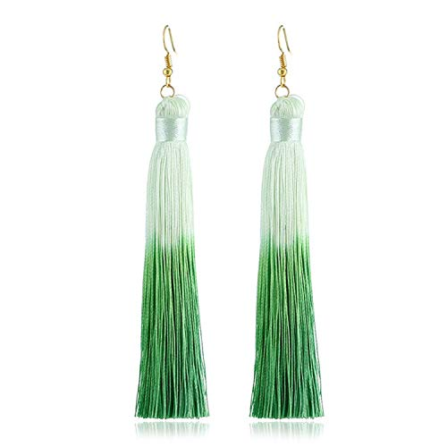 Sunwd Mujer Pendientes, Bohemian Color Tassel Earrings For Women Long Solid Silk Fringed Drop Dangle Earrings Wedding Jewelry Accessories green