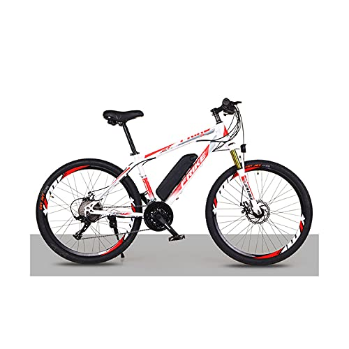 "Bedroom Elektrisches Mountainbike 26\""250w Elektrisches Fahrrad Mit 36v 8ah Abnehmbare Lithiumbatterie, 21-Gang-Getriebe, 35 Km/H, Ladekilometer Bis 35-50km(Color:rot-Weiss)"