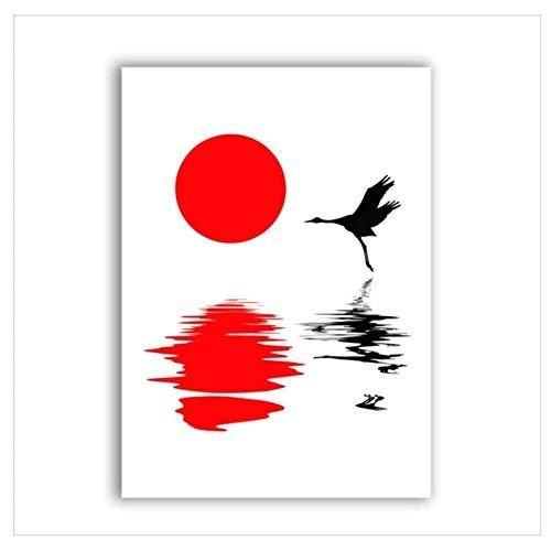 XingChen Cuadros de Pared 20x30cm sin Marco Grulla de Corona roja Cuadros de Pared Tradicionales Póster de impresión artística Estilo japonés Pintura de Lienzo Decoración del hogar