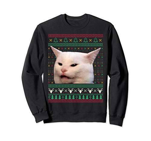 Woman Yelling at a Cat Ugly X-mas Sweaters Funny Meme Dress Sweatshirt