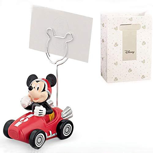 Portafoto/memo di Topolino pilota con auto Ferrari rossa da corsa, firmato Disney, bomboniere utili battesimo, compleanno maschio, completo di scatola regalo (con confezione rossa)