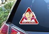 Pegatina Vinilo Super Bebe a Bordo, Super Baby on Board (15cm x 17cm, Niña)