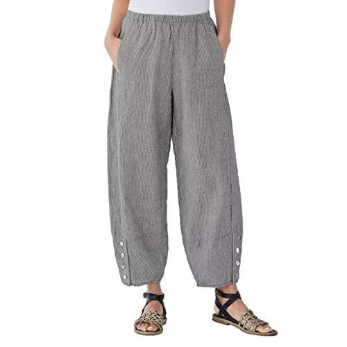 URIBAKY - Pantalón largo de algodón y lino para mujer, diseño floral, elástico, cintura alta, pantalón boho Harem, gris, L