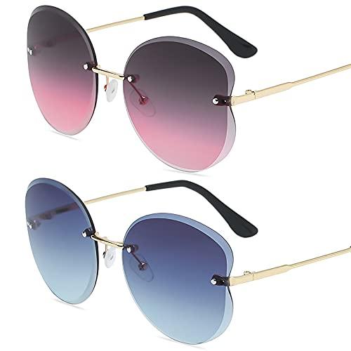 HFSKJ Pack de 2 Gafas de Sol, Gafas de Sol para niños Gafas con protección UV con Ribete Retro Poligonal Las Gafas sin Montura Son adecuadas para Hombres y Mujeres,E