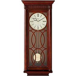 Howard Miller Kathryn Wall Clock 625-525 – Tuscany Cherry & Brass Pendulum Bob with Quartz, Triple-Chime Movement
