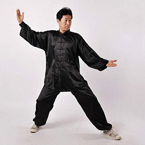 FLY FLU Tai Chi Kleidung Damen,Herren Tai Chi Anzug Herren,Chinoiserie Traditionell Shaolin Kung Fu Kampfkunst Qi Gong Kostüm Unisex Lange Ärmel Seide Set,F-XX-Large