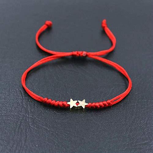 weichuang Pulsera de pareja con forma de corazón con diseño de estrellas y cuerda roja para hombres y mujeres (color de metal: estrellas dobles)