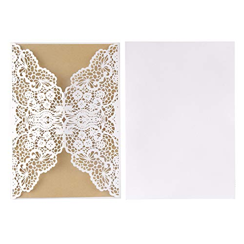 ewtshop® 20 Hochzeitseinladungskarten im Vintage Stil, weiße Karten mit Spitze + Einlegeblatt aus Kraftpapier + Kraftpapierkuverts + Dekoschnur