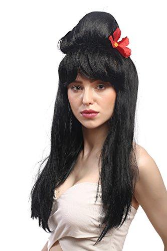 WIG ME UP ® - 90915-ZA103 Peluca Carnaval señoras; Negro, Largo Lisa con el Peinado updo Colmena Carmen España, China, Japón Geisha