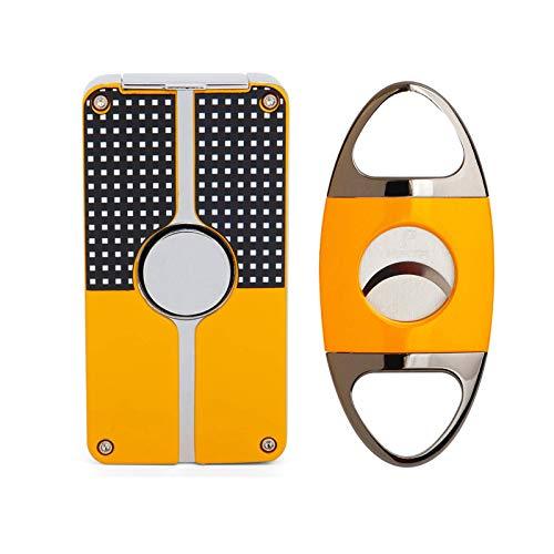 Cigar Lighter and Cigar Cutter Set Jet 3 Flame Cigar Lighter Torch and Cigar Cutter Packing with Nice Gift Box (Cigar Lighter+Cutter)