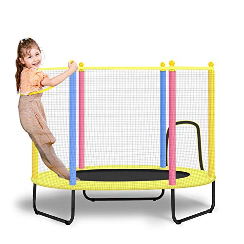 BSPORTY 4.5 FT Trampoline with Safety Enclosure -Indoor or Outdoor Trampoline for Kids-Colorful