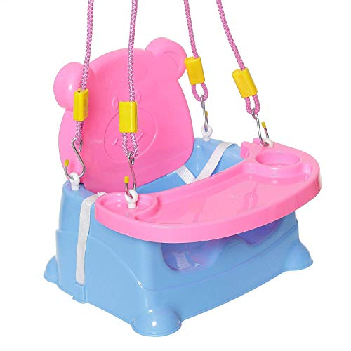 Goyal's 6-in-1 Baby Booster Seat Cum Swing with Feeding Tray - Blue Pink