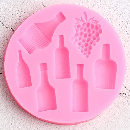 LINLIN Molde de Silicona para Botella de Vino, Arcilla de Caramelo de UVA, moldes para Fondant de Chocolate, horneado de Cupcakes, Herramientas de decoración de Pasteles de Boda para Fiestas DIY