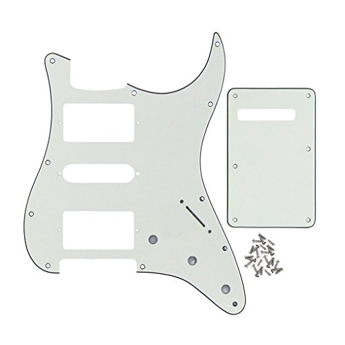 FLEOR HSH Strat Pickguard Scratch Plate & Tremolo Cavity Cover Guitar Backplate w/Screws for American/Mexican Standard Strat Modern Style Guitar Replacement, 3Ply Ivory White