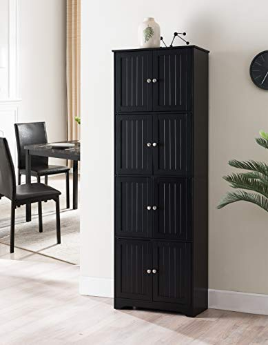 Kings Brand Furniture Lyons 4-Tier 68' Kitchen Pantry Storage Cabinet with 8 Doors, Black