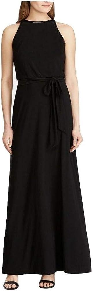 LAUREN RALPH LAUREN Women's Kiera Embellished Beaded-Trim Tie Sleeveless Gown, Black, 12