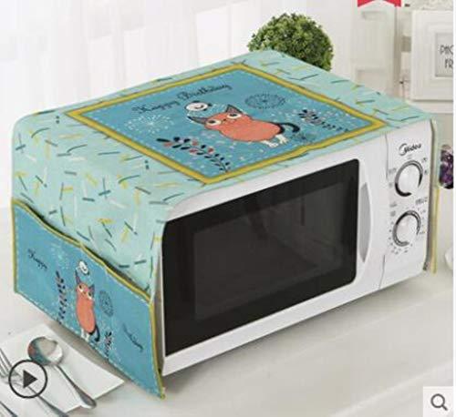 Gouen Housse de Protection pour Micro-Ondes en Coton et Lin avec étui Cuisine Poussière d'huile Étanche Double Poches Accessoires de Cuisine, M, 100CM X 35CM