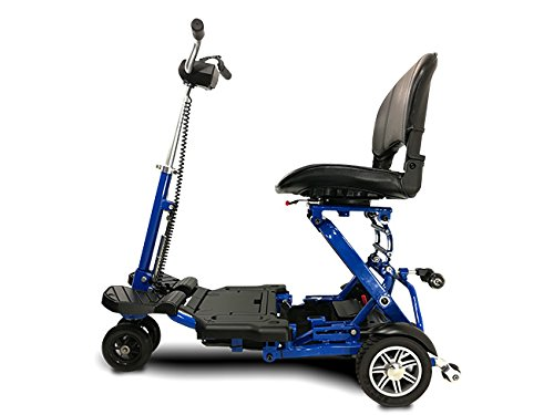 EV Rider MiniRider Folding is a compact mobility scooter, Indoor/Outdoor use, Easy Pull Throttle, Key Ignition and Battery Gauge- Blue, Bundled with Outdoors Equipments 1-Year Extended Warranty