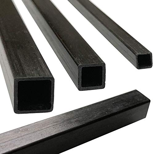 (4) Pultruded Square Carbon Fiber Tube - 6mm x 6mm x 1000mm - (4) Tubes