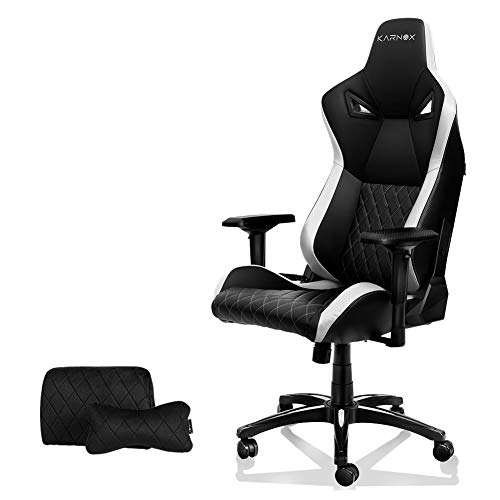 KARNOX TR New Racing Style Gaming Chair with Adjustable Height and Armrests, Ergonomic 155° Reclining, Locking High Back with Integrated Headrest (White) …