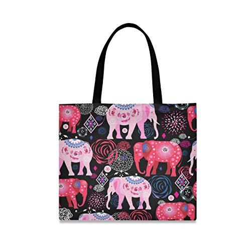 ALARGE Bolso de lona con diseño de elefantes étnicos y flores, estilo indio, grande, informal, para ir de compras, con asas de longitud para mujeres y niñas
