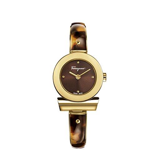 Salvatore Ferragamo Gancino Bracelet Damen Quarzuhr mit braunem Zifferblatt und Champagner-Armband aus Gold mit Acetat-Einlage FII020015