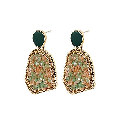 GGSDDU Pendientes de piedra triturada de color de geometría irregular para mujer, aretes redondos chapados en oro para playa, vacaciones, joyería de moda