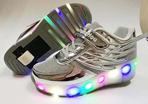 Ping Neue Roségold-preiswerte Kindermode-Mädchenjungen Beleuchten LED-Rollschuhschuhe Für Kinderkinderturnschuhe Mit Rädern EIN Räder,Gray-1-3