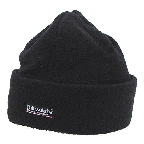 Leichte Wintermütze / Rollmütze aus Fleece, mit Thinsulate Fütterung - schwarz