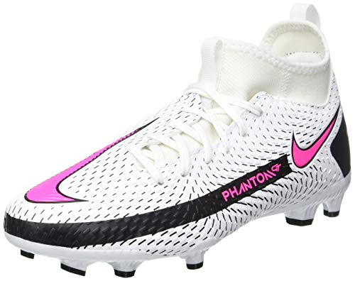 Nike Jr. Phantom GT Academy Dynamic Fit FG/MG Soccer Shoe, White/Pink Blast-Black-Black, 38 EU