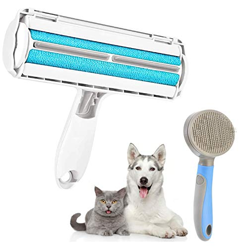 laamei Quitapelos y Rodillos para Mascotas, Cepillo de Limpieza Removedor de Pelaje para Perro y Gato con Cepillo para Mascotas para Perros