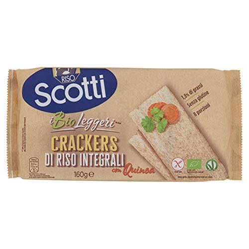Riso Scotti - Crackers di Riso Integrali con Quinoa - Crackers Integrali Snack Senza Glutine Bio - 8 Porzioni Singole