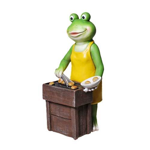Frosch am Grill 25 cm groß Froschfigur Dekofrosch Froschdeko Skulptur Frosch Gartenfigur Gartendeko Gartenteichfigur
