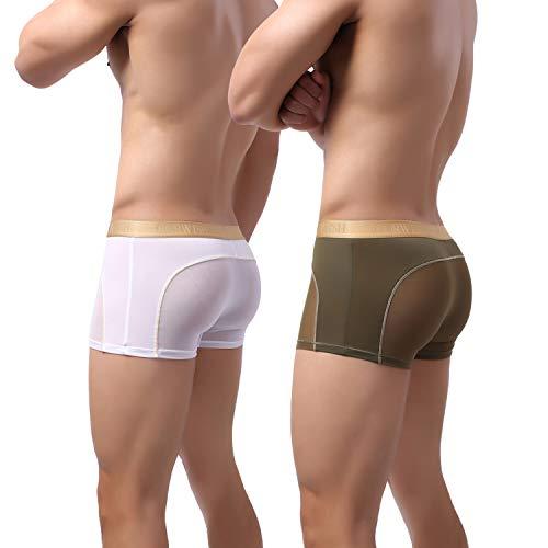 Laxier 2er-Pack Herren Boxer Shorts Weiche Unterhosen Durchsichtige Boxershorts Sexy Unterwäsche Trunk für Männer (Navy&White, M)