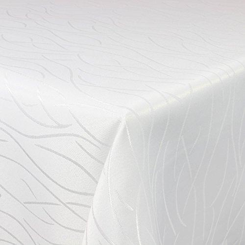 Tischdecke Damast Streifen 110x140cm eckig Weiss