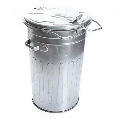 rg-vertrieb Mülltonne Müllbehälter Verzinkt 80L mit Deckel Behälter Abfalltonne Müllgroßbehälter Stahlblech Metallbehälter