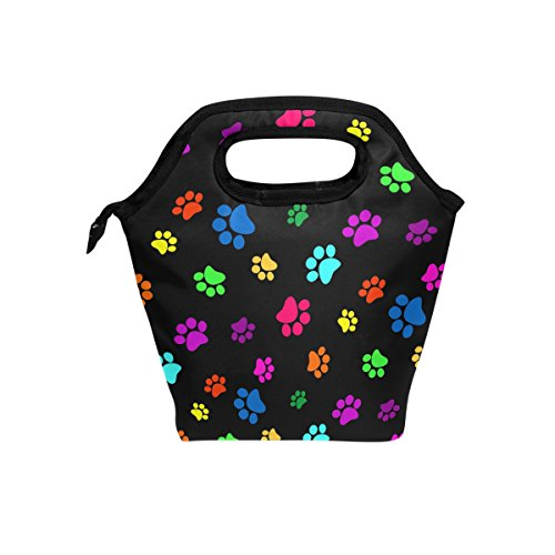 JOYPRINT Lunch Box Bag, Colorful Animal Dog Cat Paw Print Insulated Cooler Ice Lunchbox Tote Bag Handbag for Men Women Adult Boys Girls Kids