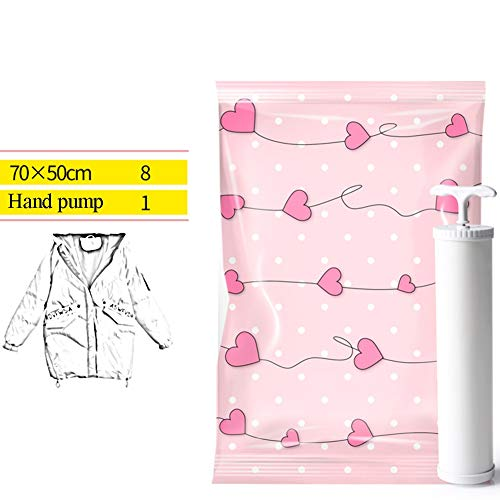 MAHFEI Vacuum Storage Bags, 80% More Storage Compression Bags For Clothes Duvets Pillows Comforters Travel Hand Pump (Color : Pink-A)
