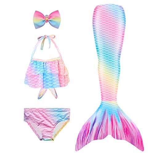 Danvren Mermaid Tails for Swimming Girls Bathing Suits Swimsuit Swimwear Bikini 3 Pcs for 3-12 Year Old
