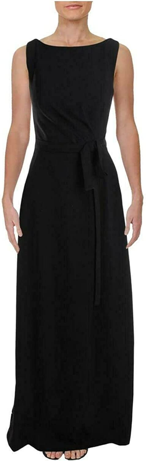 Kay Unger Womens Gown Crepe Lace Formal Sleeveless Black 4