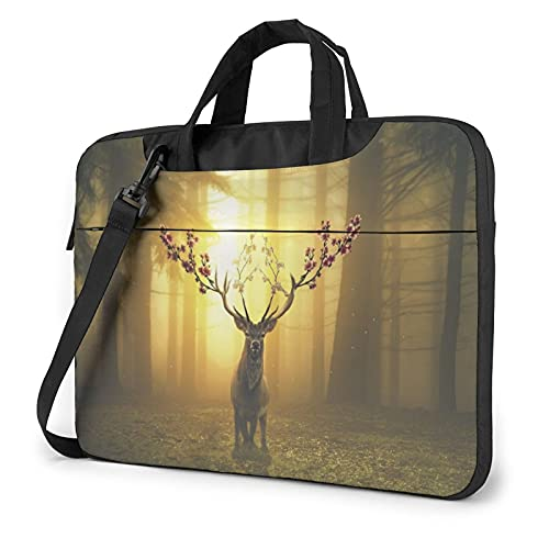 Laptop Sleeve Bag Deer Forest Surreal Tablet Briefcase Ultraportable Protective Canvas for 13 inch MacBook Pro/MacBook Air/Notebook Computer
