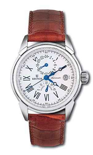 KRONOS - Quantieme Automatic Power Reserve 538.25 - Reloj de Caballero automático, Correa cocodrilo marrón, Color Esfera: Blanca