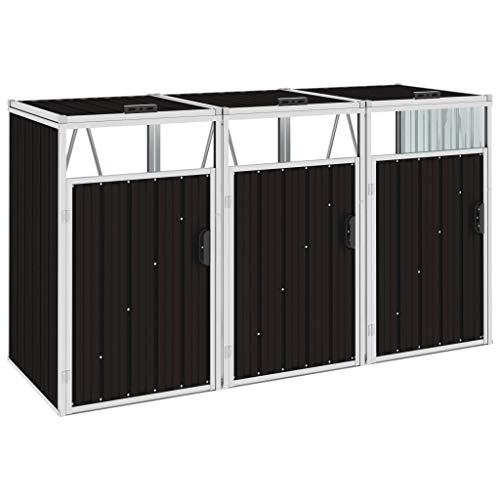Festnight Triple Garbage Bin Shed/Bin Sheds Storage Outdoor Brown 213x81x121 cm Steel