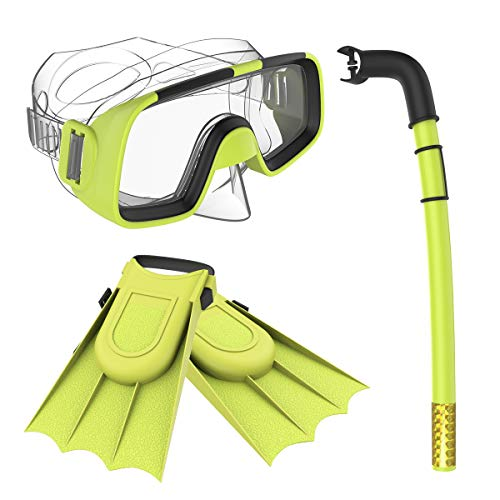 Herbalcandybox Children Kids Swimming Diving Snorkel Breathing Tube Fins Scuba Eyeglasses Set,Yellow