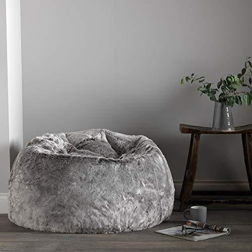 Icon Klassischer Sitzsack aus Kunstpelz, Sitzsäcke für das Wohnzimmer, 85cm x 50cm, Groß, Stuhl für das Schlafzimmer (Arktischer Wolf Grau) - 2