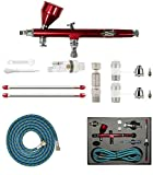 HUBEST New Professional 0.2mm/0.3mm/0.5mm Dual Action Airbrush Kit Spray Paint Gun Kit Complete Set for General-Purpose...